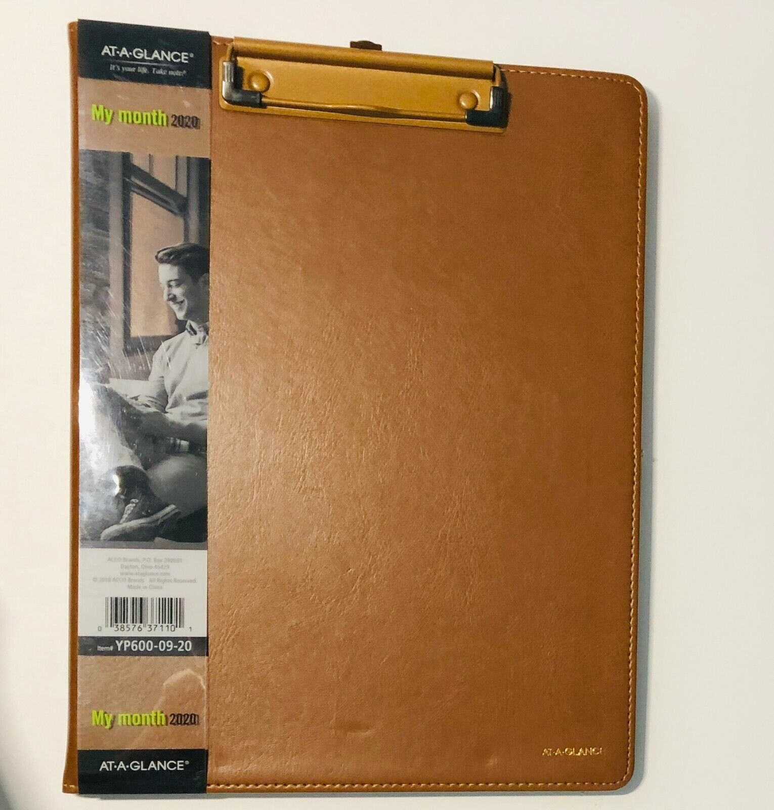 AT-A-GLANCE Faux Leather Padfolio Clipboard 2020 Monthly Pla