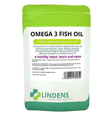 Omega 3 Fish Oil (30% DHA/EPA) 1000mg capsules 90 pack Lindens Health UK MADE