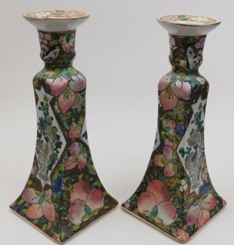 2 Chinese Porcelain Candlestick Holders Hand Painted China Vintage