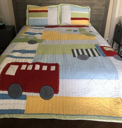 RARE 3pc POTTERY BARN KIDS Airplane Bus TRUCK RED CAR, FULL/QUEEN Quilt Shams - $89.00