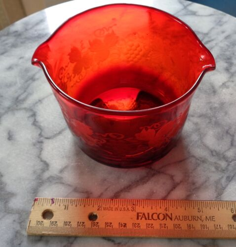 Antique Victorian Cranberry/Ruby Etched Glass Double Wine Rinser