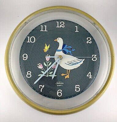 Vintage Sunbeam Quartz Clock Goose Wall Hanging Country Farmhouse Round