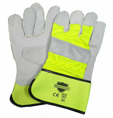 Leather Work Industrial Gloves Hi-vis Non-disposable Mens 12 Pair 1 Dozen