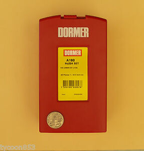DORMER-METRIC-DRILL-SET-HSS-STEAM-TEMPERED-25Pce-1-0mm-13-0mm-x-0-5mm-A190-204
