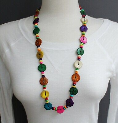 Multi Color wood disc chunky bead 30