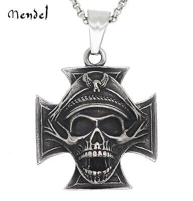 MENDEL Mens WW2 Officer Skull Iron Cross Pendant Necklace Chain Stainless Steel