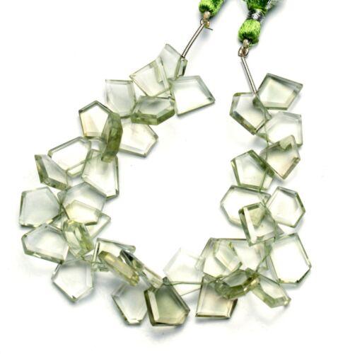 """Natural Gem Brazil Green Amethyst Prasiolite Faceted Slice Beads 8"""" 115Cts."""