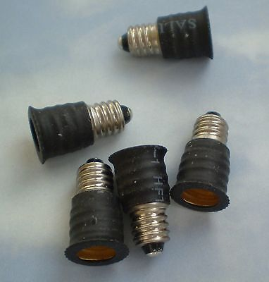 FIVE Adapters to Use E12 Candelabra Light Bulbs in E10 miniature fixture base