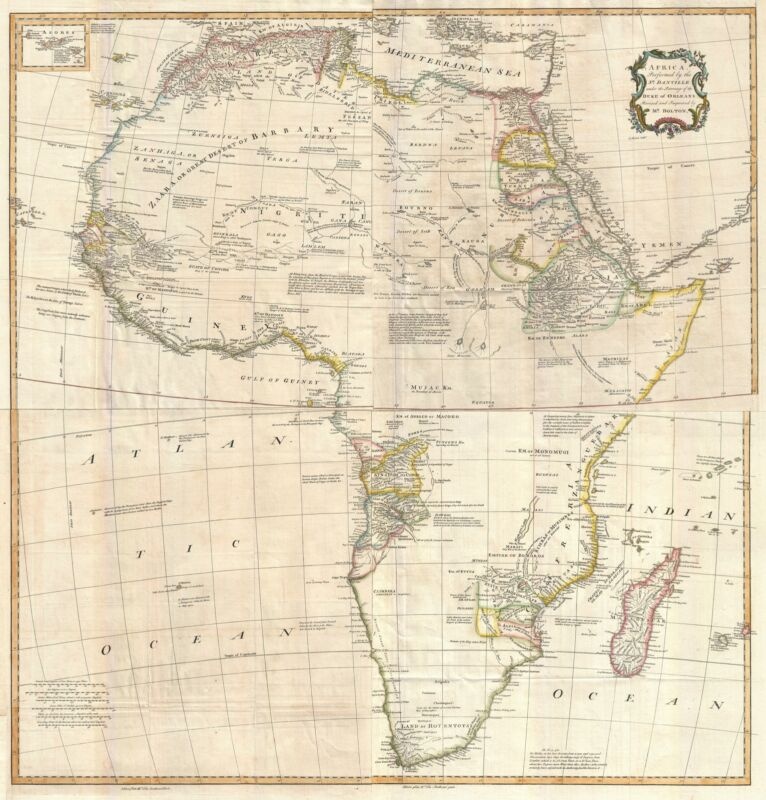 1755 Postlethwayte and Bolton Wall Map of Africa