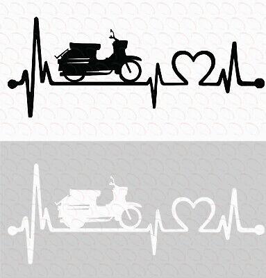 Aufkleber Simson Schwalbe mit Herzschlag Heartbeat Kult Ver. 3.0