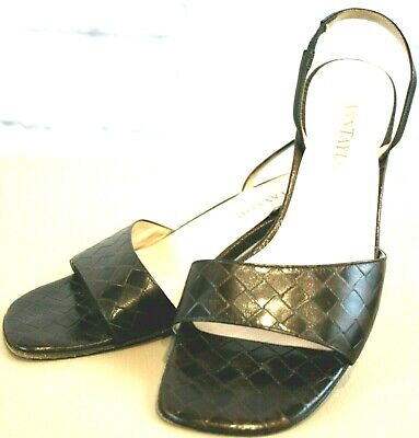 Ann Taylor Brown Woven Leather Open Toe Sling Back Leather Sole 6.5
