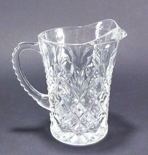 """Anchor Hocking Clear Pressed Glass Pineapple 5"""" Tall Creamer Pitcher"""