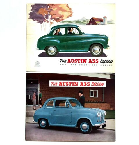 Lot of 2 Vintage 1950s Austin A35 Saloon Sales Brochures Car Art Photos