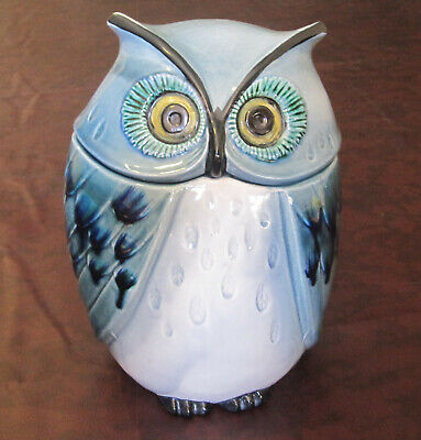 White & Blue Owl California Metlox Poppytrail Ceramic Cookie Jar Container