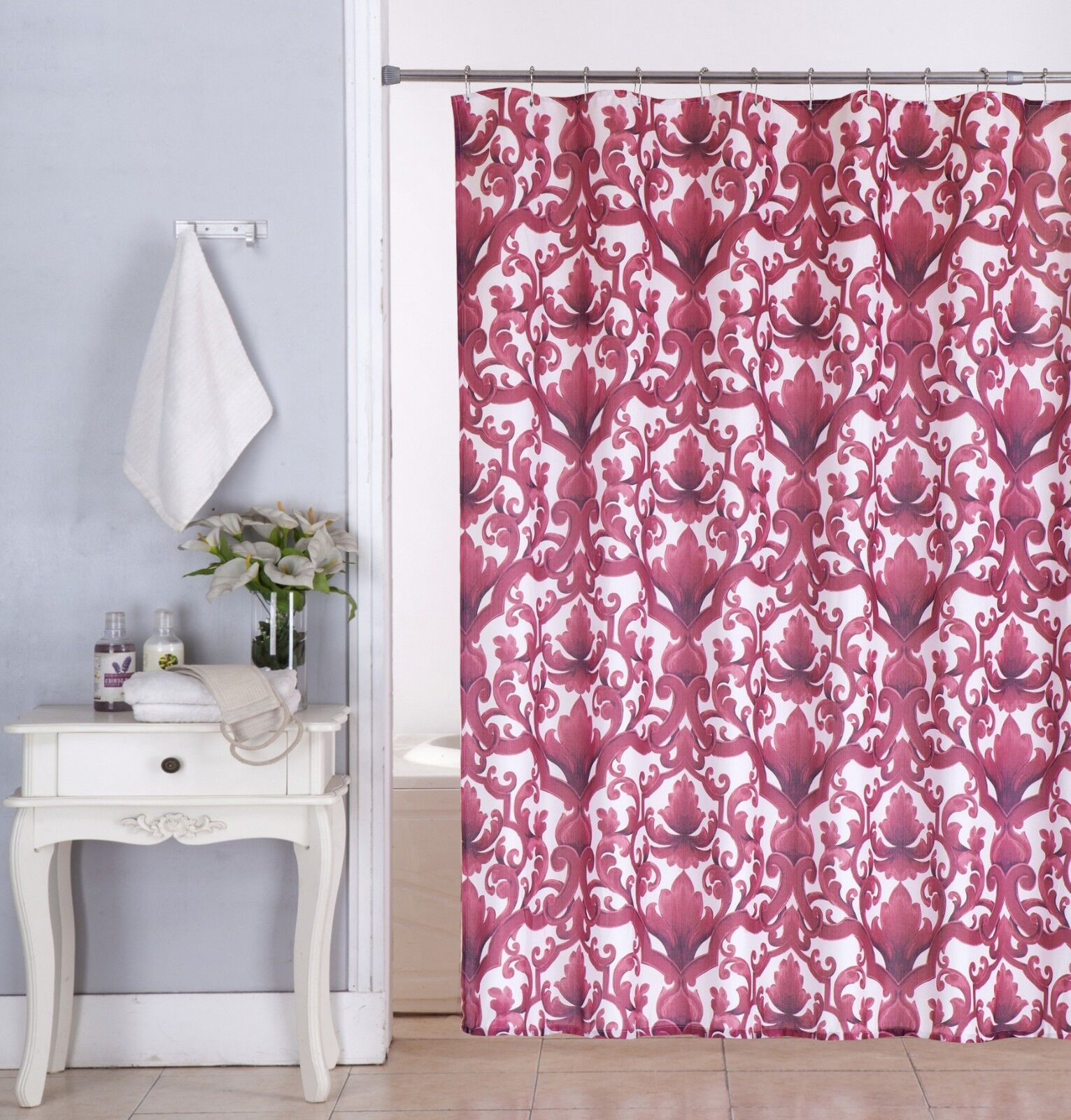 Details About Ariel 70 X70 Fabric Canvas Shower Curtain Roller Hooks Set Burgundy