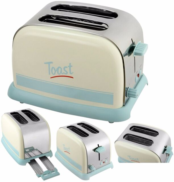 2 Slice Pastel Script Toaster 950w 6 Toast Setting Cool Touch Extra wide slot