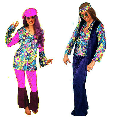 Damen Herren Partner Kostüm HIPPIE Partnerlook Hippi 60er Jahre Flower Power NEU