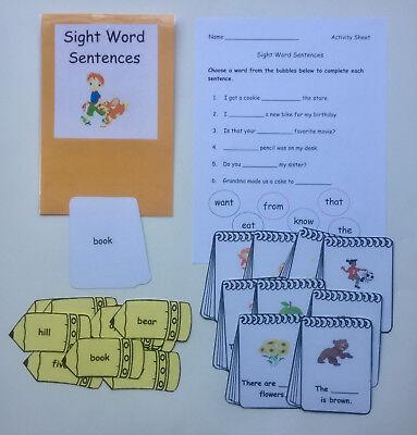 Teacher Made Literacy Center Learning Resource Game Sight Word Sentences