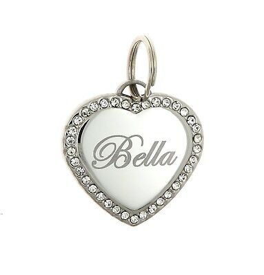 Custom Engraved Personalized Stainless Steel Heart Shape Dog Tag Pet ID Name