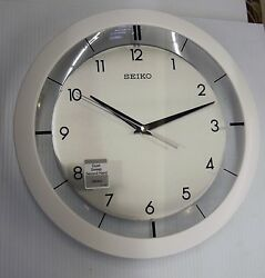 SEIKO WALLWHITE METALLIC-LIKE CASE ROUND CLOCK 11 DIAM- QUIET SWEEP QXA314WLH