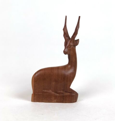 Vintage Mid Century Hand Carved African Besmo Antelope Baby Wood Teak Sculpture