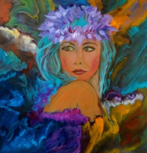"""HAWAII ARTIST Abstract Hawaiian Aloha One 20x20"""" Original Oil Painting"""