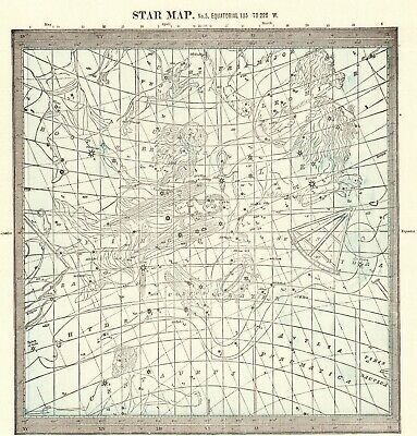 1895 Antique ASTRONOMY Print Star Constellation Map Chart Astrology Map 8127