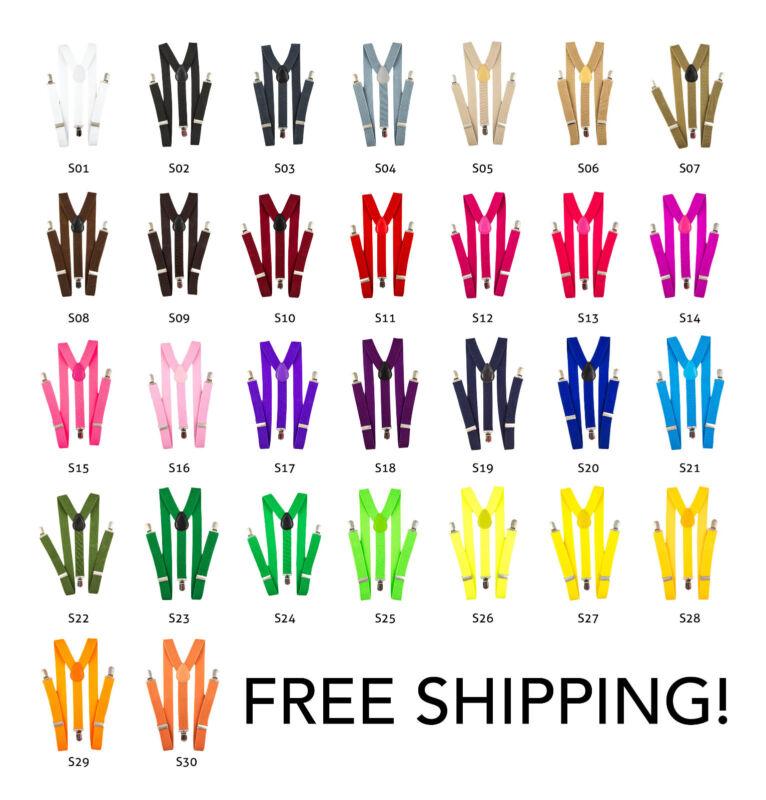 30 Colors Youth Mens Women Clip-on Suspenders Elastic Y-shape Adjustable Elastic