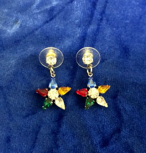 OES Order of the Easter Star Silver Rhinestone Drop Dangle Earrings