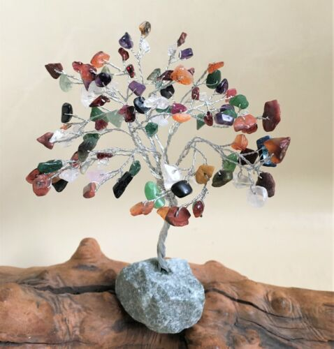 Chakra Stone Tree Life Natural Gemstone Tree Positive Energy Heal Geode Reiki