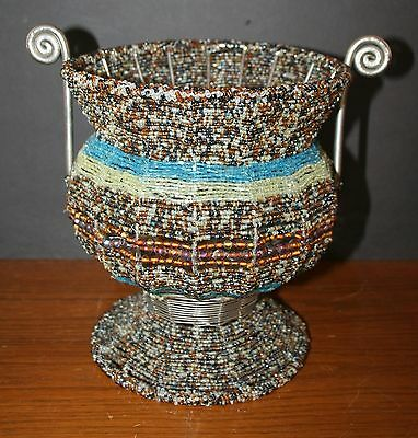 Glass Beaded Vase Fruit Bowl Candy Dish Hand Made Metal Frame EUC India Brown Hand Beaded Bowl