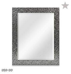 Modern Bathroom Rectangular Wall Mirror Glass Mosaic Stylish Silver Tile  Frame