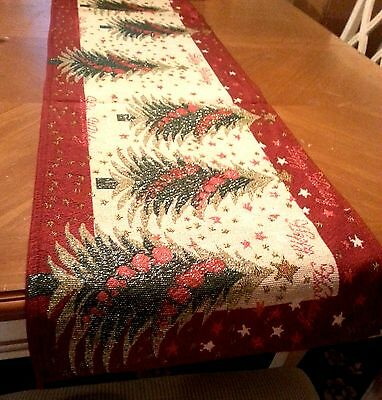 6ft Christmas Tapestry Table Runner Tree Presents Ornaments Holiday Decor NEW](Christmas Tables)