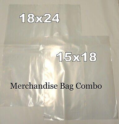 20 Clear Plastic Merchandise Bag Combo 2 Large Sizes 15x18 18x24 1.5 Mil