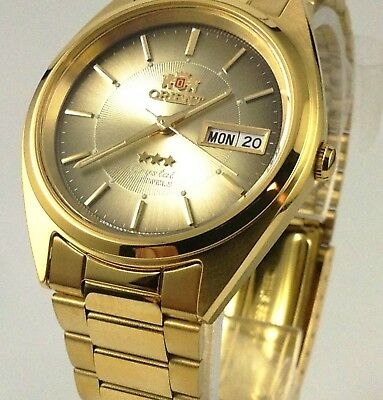 Reloj  De Hombre Orient  Men's 3 Star  Gold Tone Brown Dial Automatic Watch