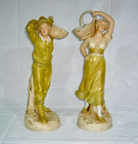 "ANTIQUE ROYAL DUX ""E"" MATTE #1830 #1831 GILT HIGHLIGHTS 17"" MAN WOMAN FIGURINES"