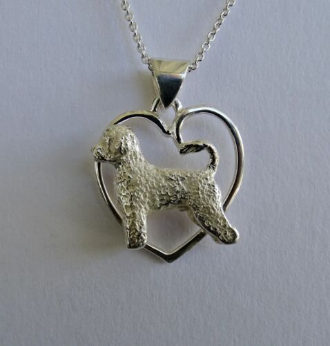 Large Sterling Silver Portuguese Water Dog Standing Study On A Heart