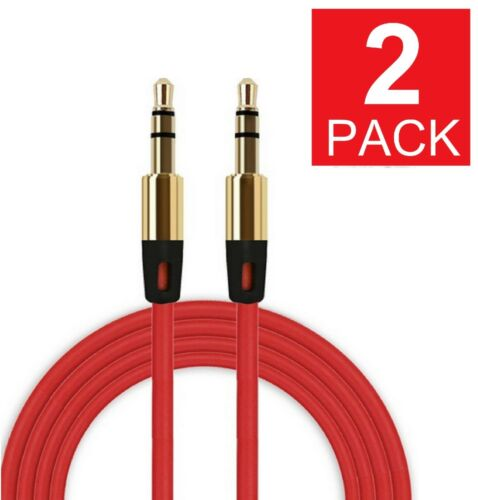 (2-pack) 3.5mm Male To Male Stereo Audio Aux Cable Cord For Pc Ipod Car Iphone