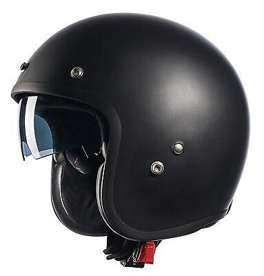 GLX Vintage Cruiser 3/4 Open Face Scooter Motorcycle Helmet Black DOT + 2 Visors Black Cruiser Open Face Helmets