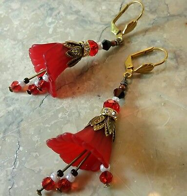 Vintage Victorian Style Artisan Earrings Red Black Calla Lily Crystal Leverbacks