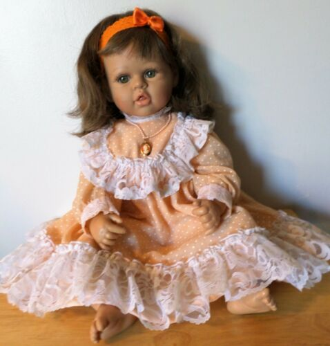 """Geppeddo My Way Babies Girl Brown Hair Green Eyes 23"""" Weighted 5 Pound Doll"""
