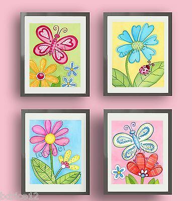 DAISY GARDEN NURSERY BEDDING GIRL CHILDREN KIDS PINK GREEN WALL ART DECOR