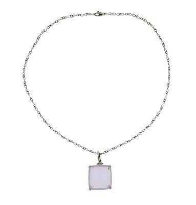 H. Stern Cobblestone Rose Quartz Diamond 18k Gold Pendant Necklace  for sale  Shipping to Canada