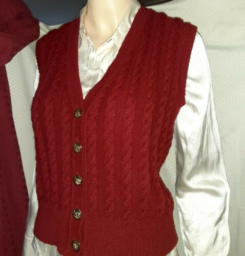 BAYER Bavarian RED CABLE KNIT VEST Red M-L wTRACHTEN BRASS BUTTONS Oktoberfest