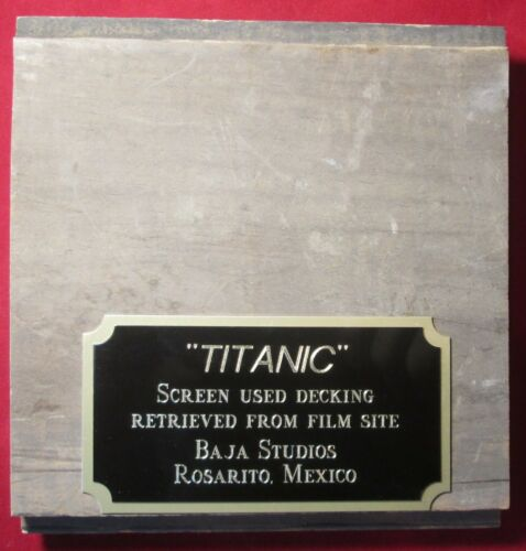 TITANIC MOVIE PROP PIECE OF DECKING WITH PLAQUE Screen Used