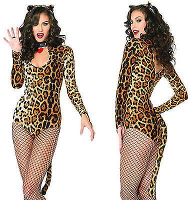 Sexy Costume Donna Leopardo Carnevale Body Coda Gatta Wild Cat Woman Leg Avenue