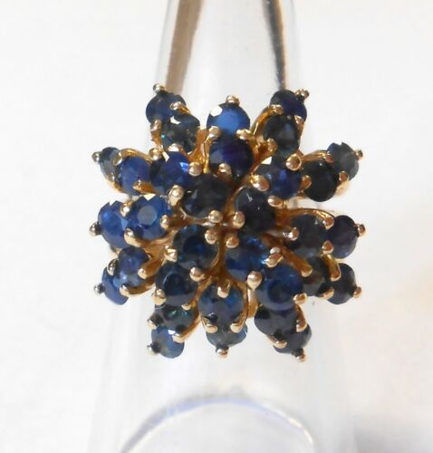 Vintage Blue Sapphire Tiered Cluster Cocktail 14K Yellow Gold Ring Size 7.25