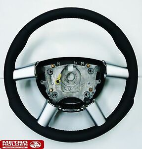 Genuine Holden New Black and Silver Leather Steering Wheel to suit VZ Commodore