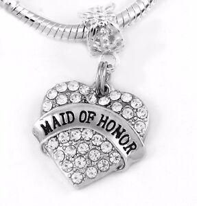Maid of honor Charm crystal heart Fits European Bracelet Maid of honor charm onl
