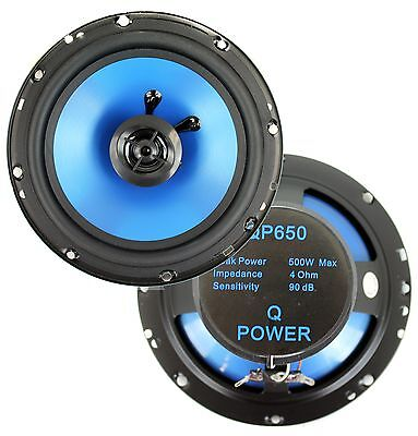 "2) Q POWER 6.5"" 300 Watt 2-Way Blue Car Audio Stereo Coaxial Speakers 